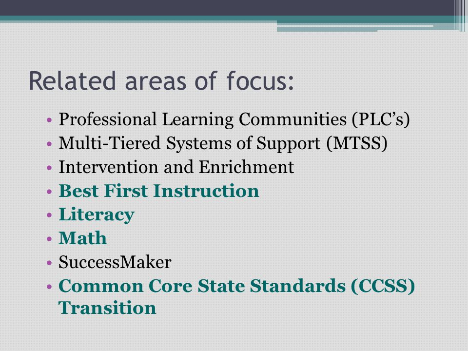 Related areas of focus: