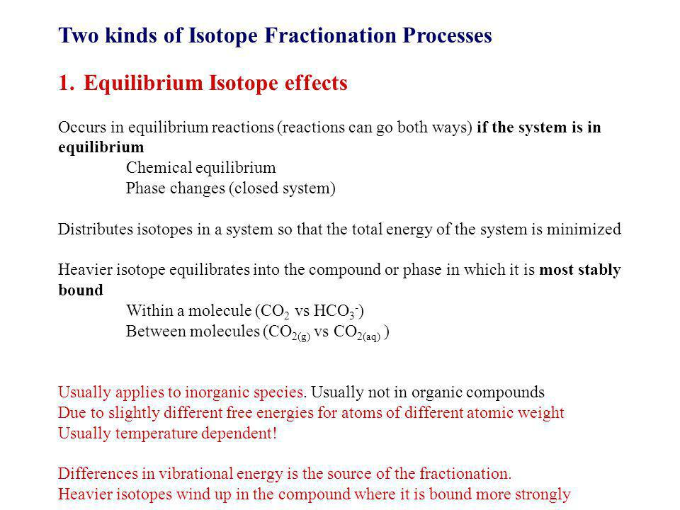 Two kinds of Isotope Fractionation Processes