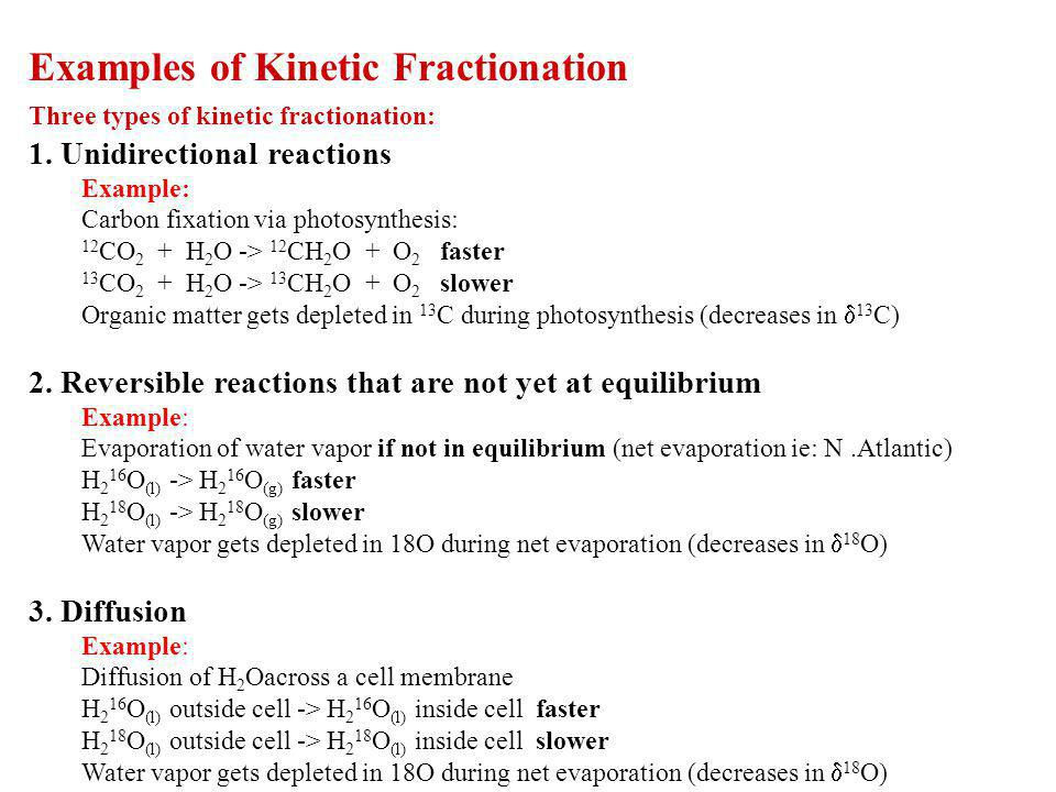 Examples of Kinetic Fractionation