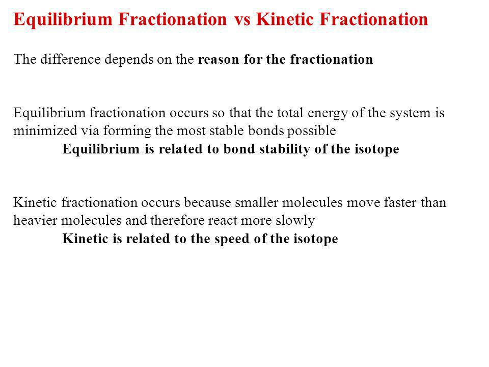 Equilibrium Fractionation vs Kinetic Fractionation
