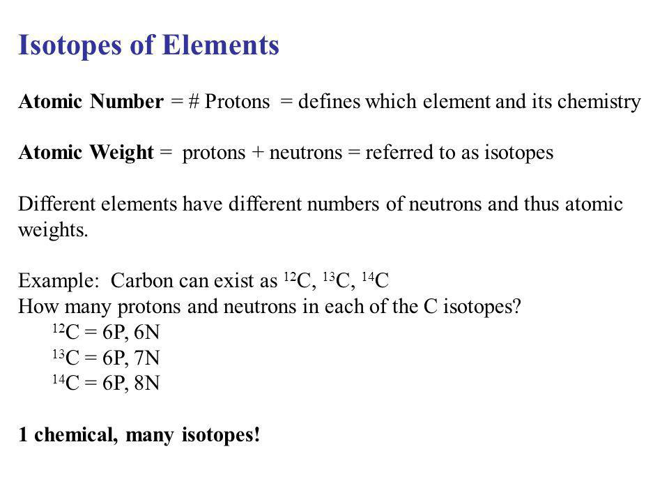 Isotopes of Elements Atomic Number = # Protons = defines which element and its chemistry.