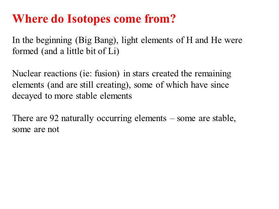 Where do Isotopes come from