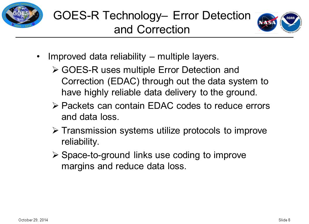 GOES-R Technology– Error Detection and Correction