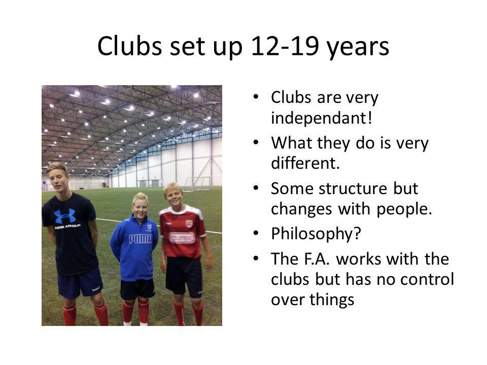 Clubs set up 12-19 years Clubs are very independant!
