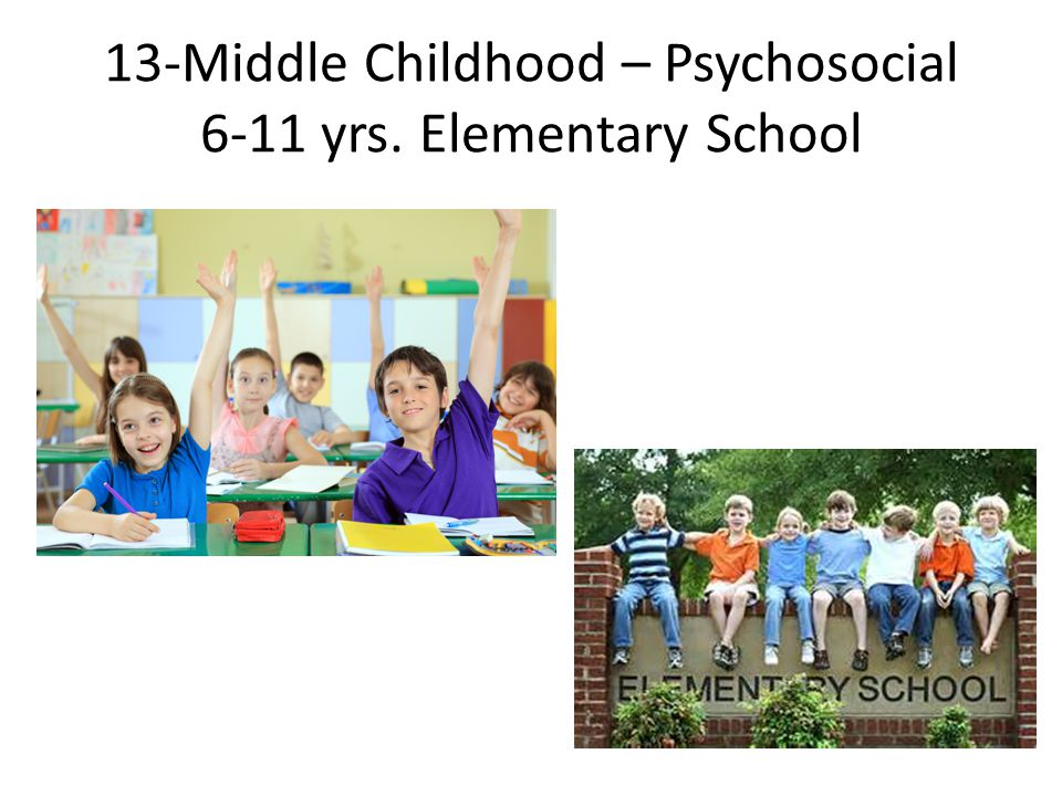 13-Middle Childhood – Psychosocial 6-11 yrs. Elementary School