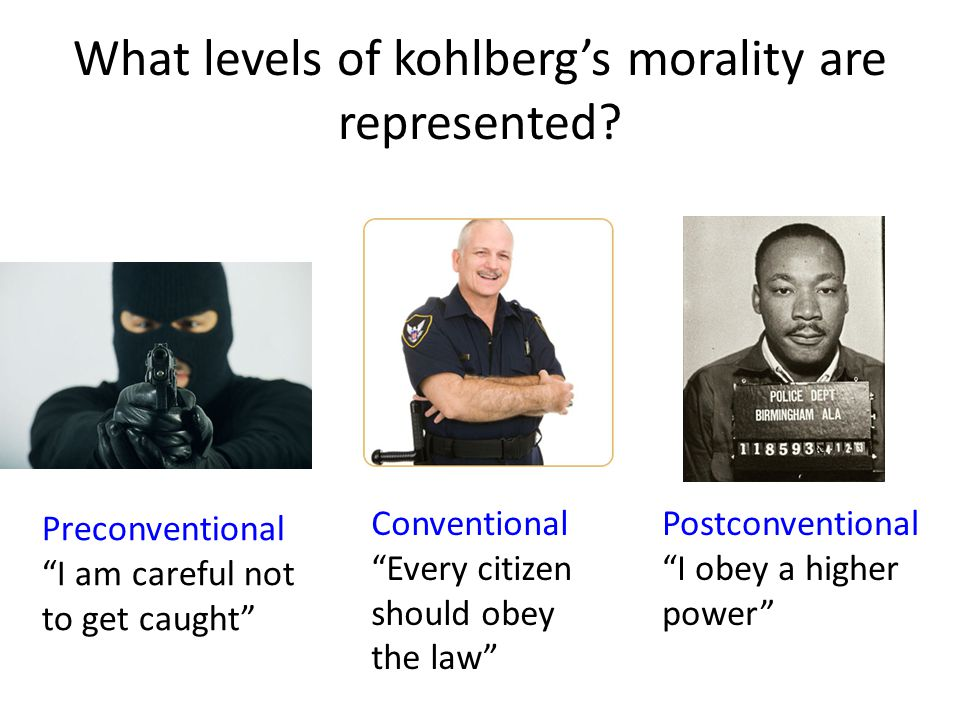 What levels of kohlberg's morality are represented