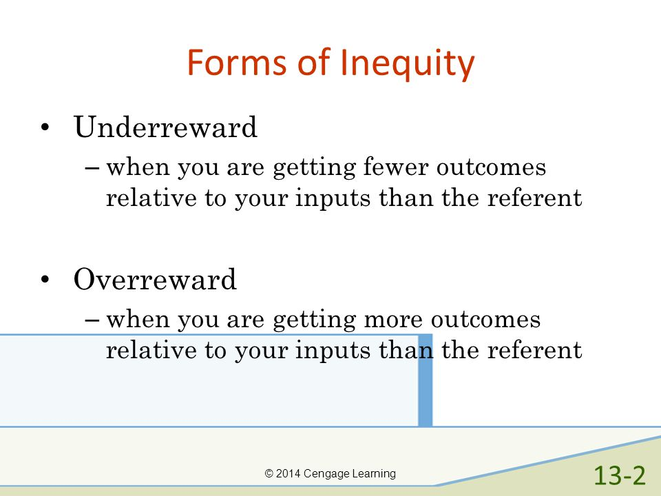 Forms of Inequity Underreward Overreward 13-2