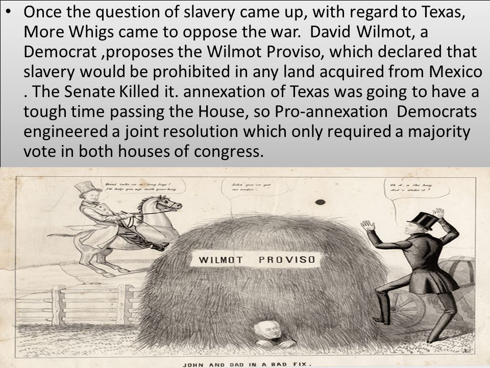 Once the question of slavery came up, with regard to Texas, More Whigs came to oppose the war.