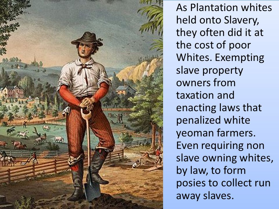 As Plantation whites held onto Slavery, they often did it at the cost of poor Whites.
