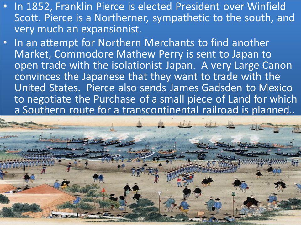 In 1852, Franklin Pierce is elected President over Winfield Scott