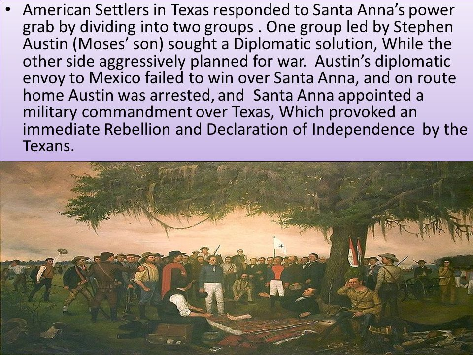 American Settlers in Texas responded to Santa Anna's power grab by dividing into two groups .