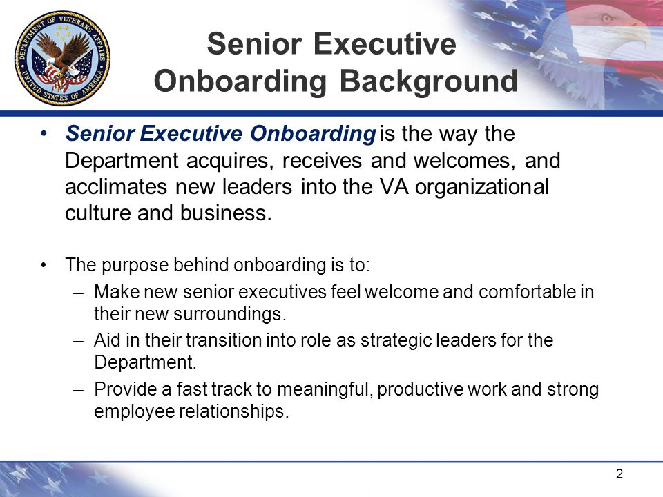 Senior Executive Onboarding Background