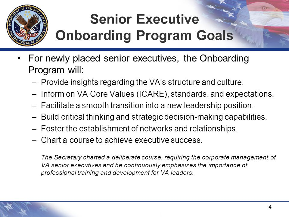 Senior Executive Onboarding Program Goals