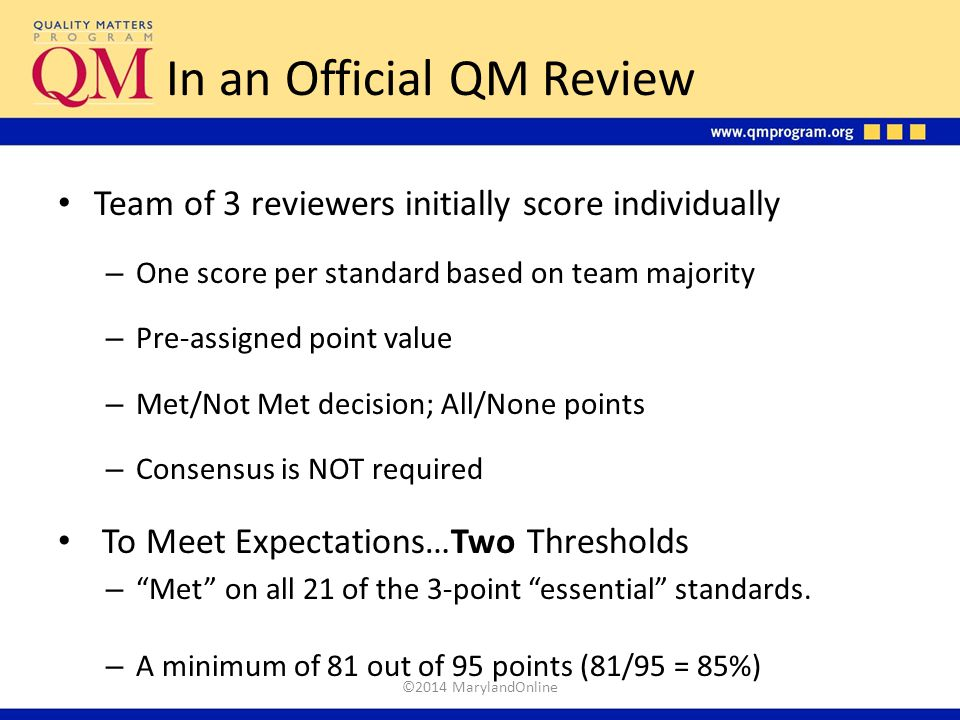 In an Official QM Review