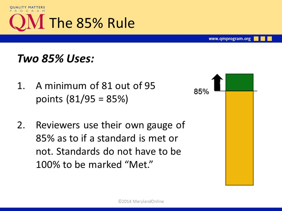 The 85% Rule Two 85% Uses: A minimum of 81 out of 95 points (81/95 = 85%)