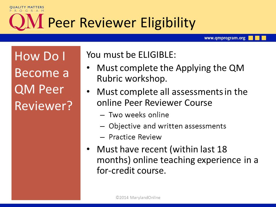 Peer Reviewer Eligibility