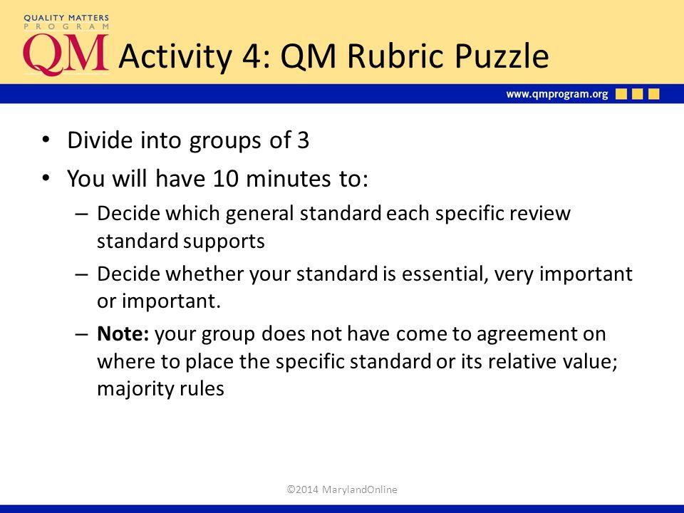 Activity 4: QM Rubric Puzzle