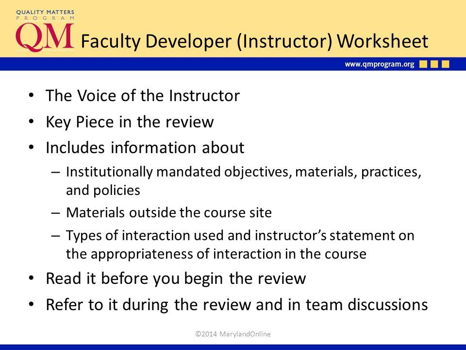 Faculty Developer (Instructor) Worksheet