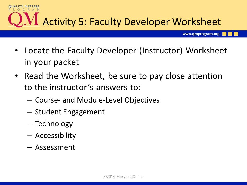 Activity 5: Faculty Developer Worksheet