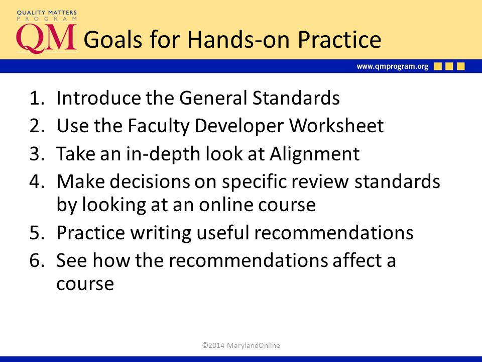 Goals for Hands-on Practice