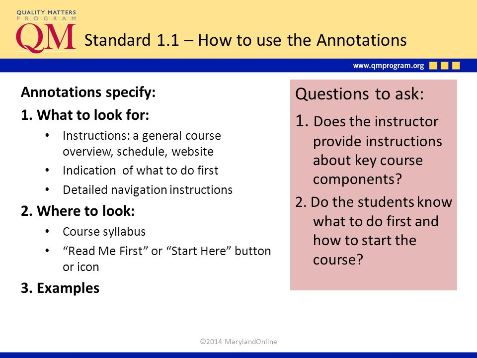 Standard 1.1 – How to use the Annotations