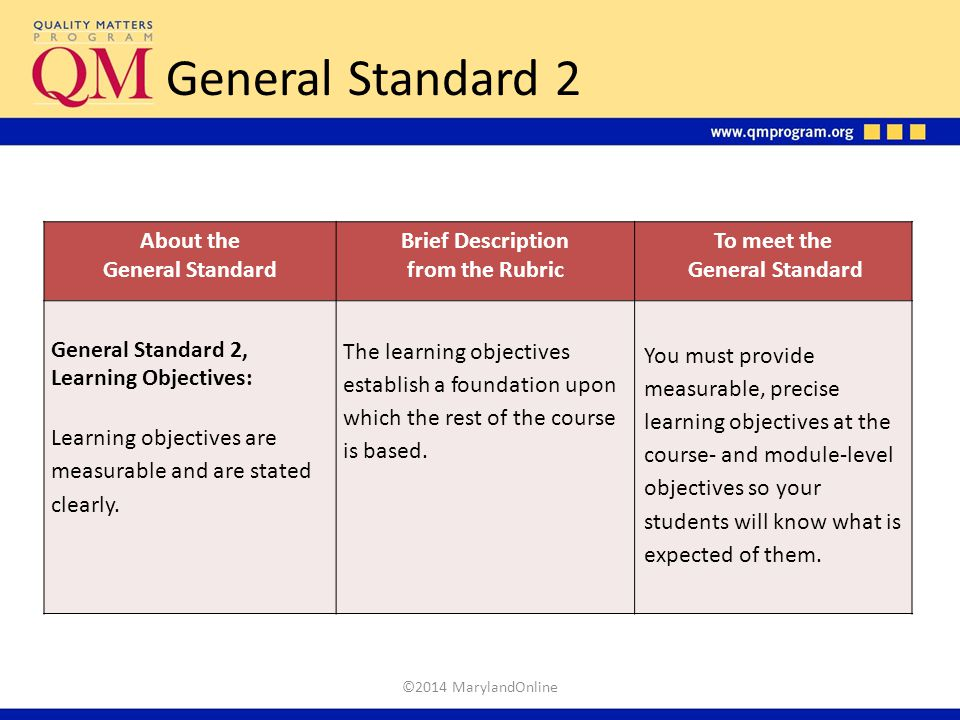 General Standard 2 About the General Standard Brief Description