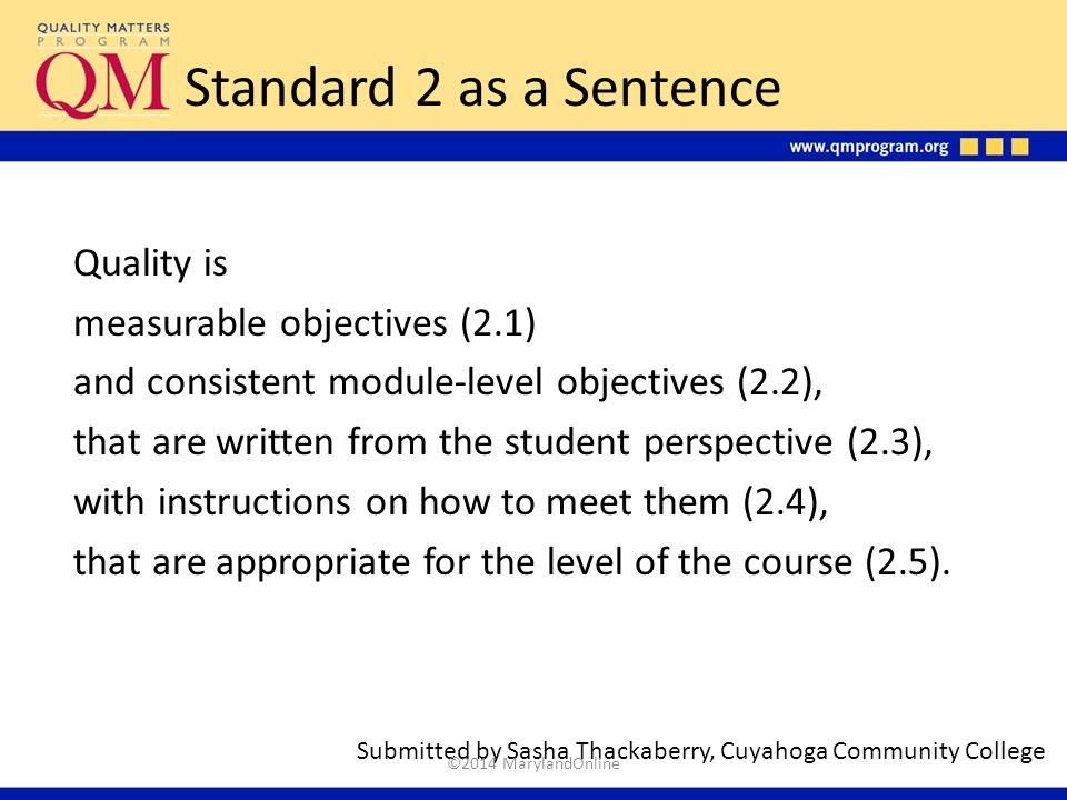 Standard 2 as a Sentence