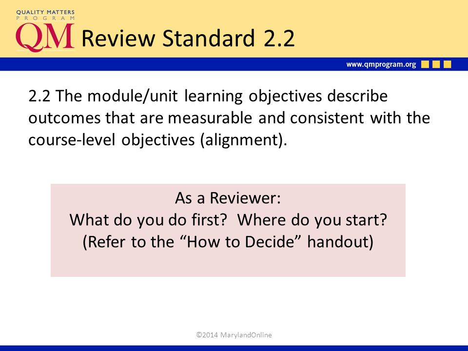 Review Standard 2.2