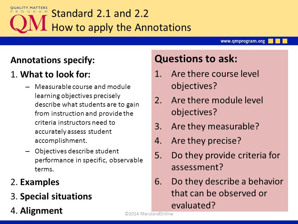 Standard 2.1 and 2.2 How to apply the Annotations