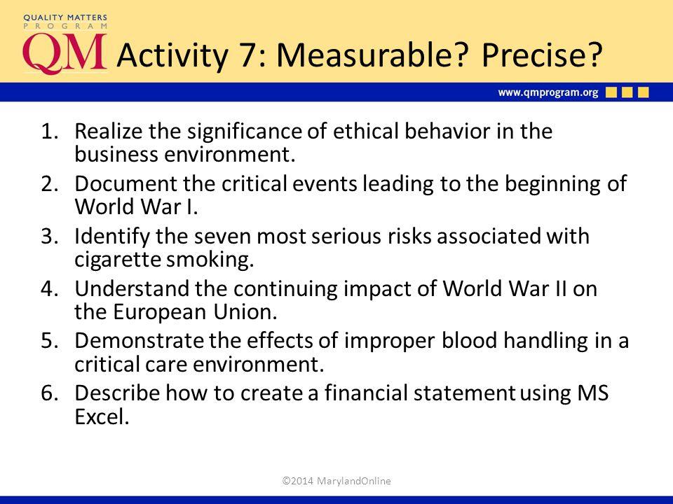 Activity 7: Measurable Precise