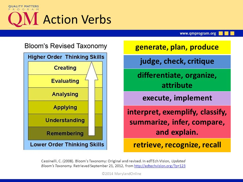 differentiate, organize, attribute retrieve, recognize, recall
