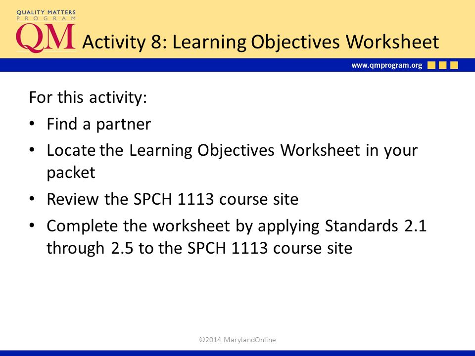 Activity 8: Learning Objectives Worksheet
