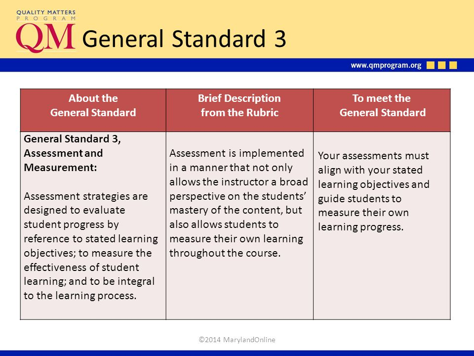 General Standard 3 About the General Standard Brief Description