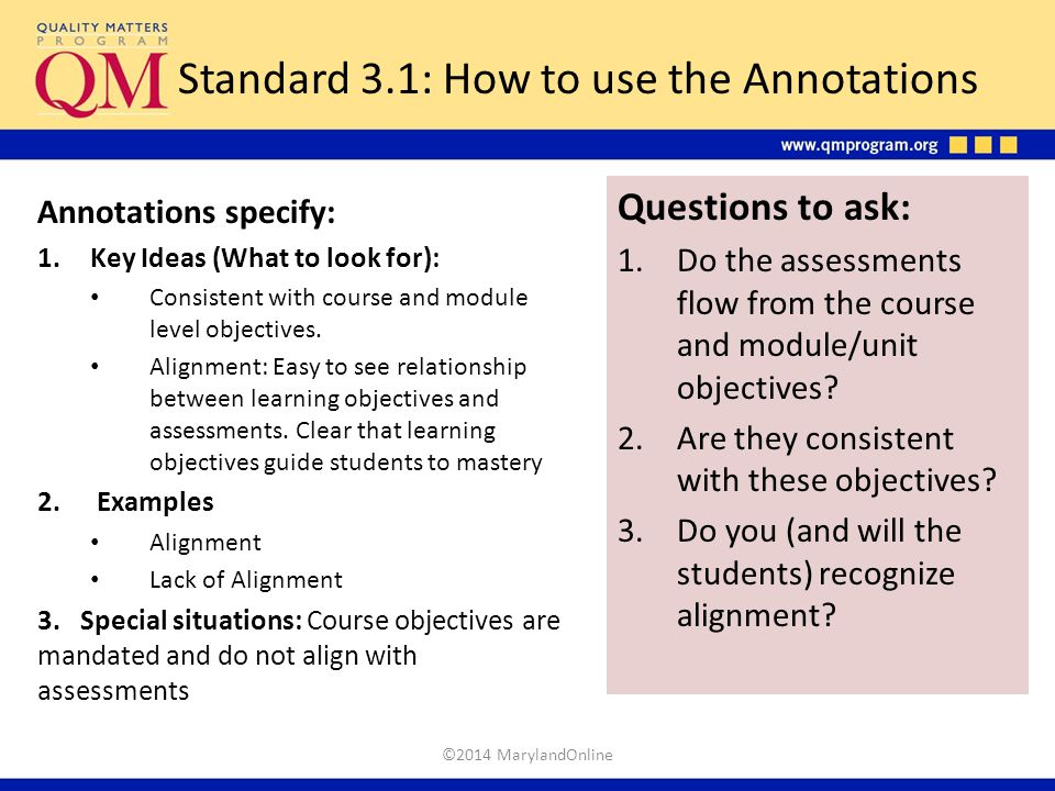 Standard 3.1: How to use the Annotations