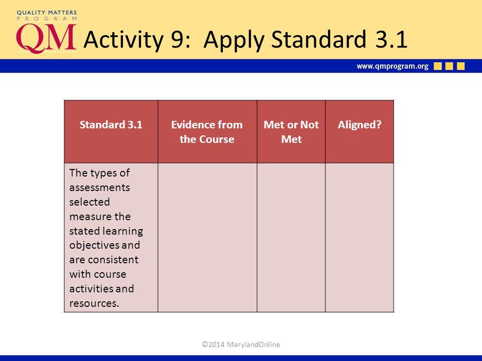 Activity 9: Apply Standard 3.1