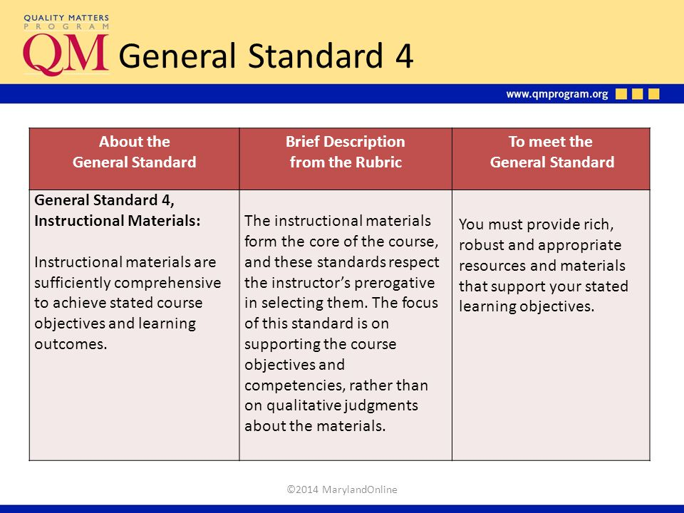 General Standard 4 About the General Standard Brief Description