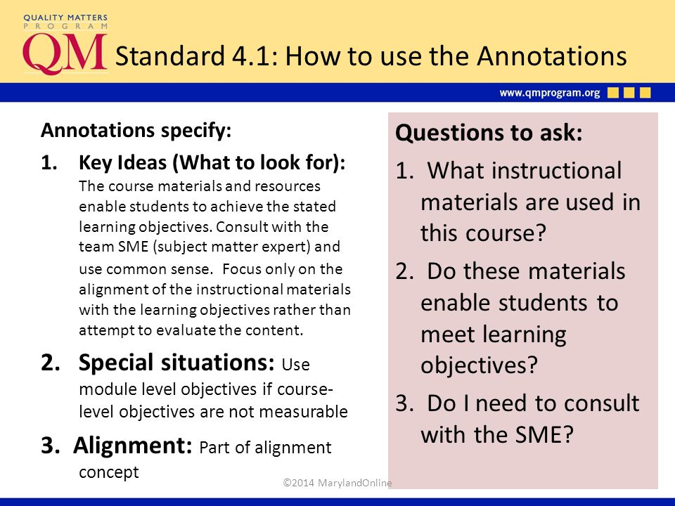 Standard 4.1: How to use the Annotations