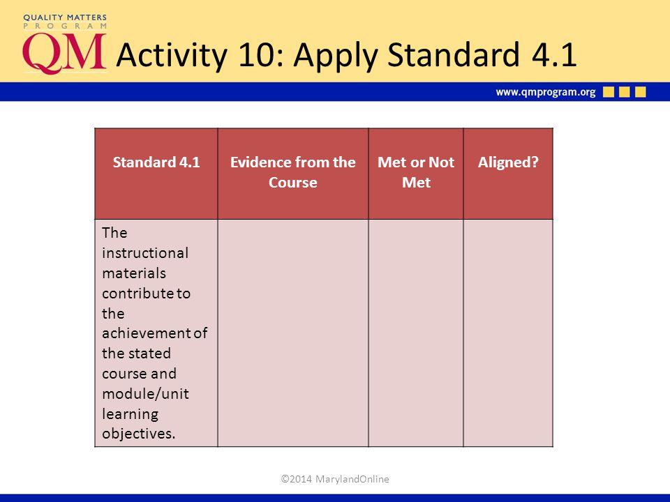 Activity 10: Apply Standard 4.1