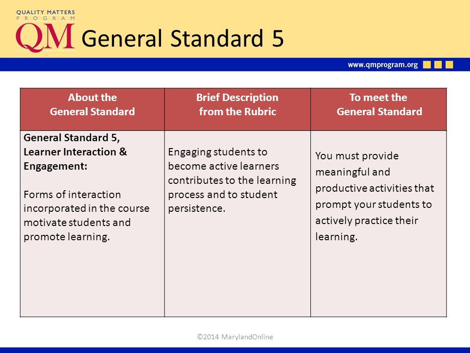 General Standard 5 About the General Standard Brief Description