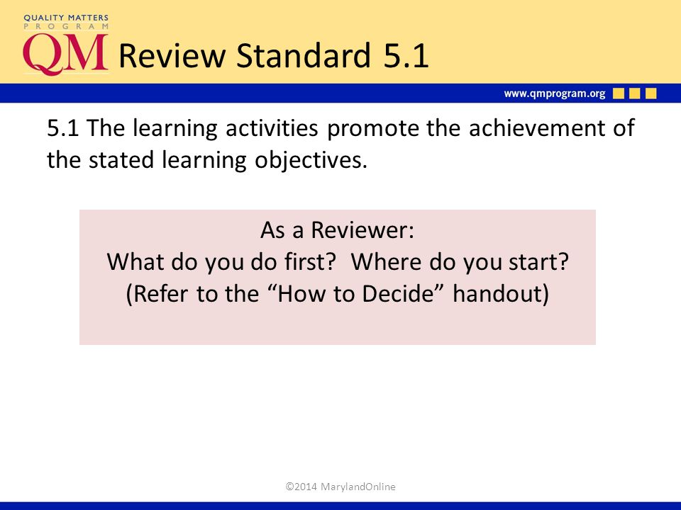 Review Standard 5.1 5.1 The learning activities promote the achievement of the stated learning objectives.