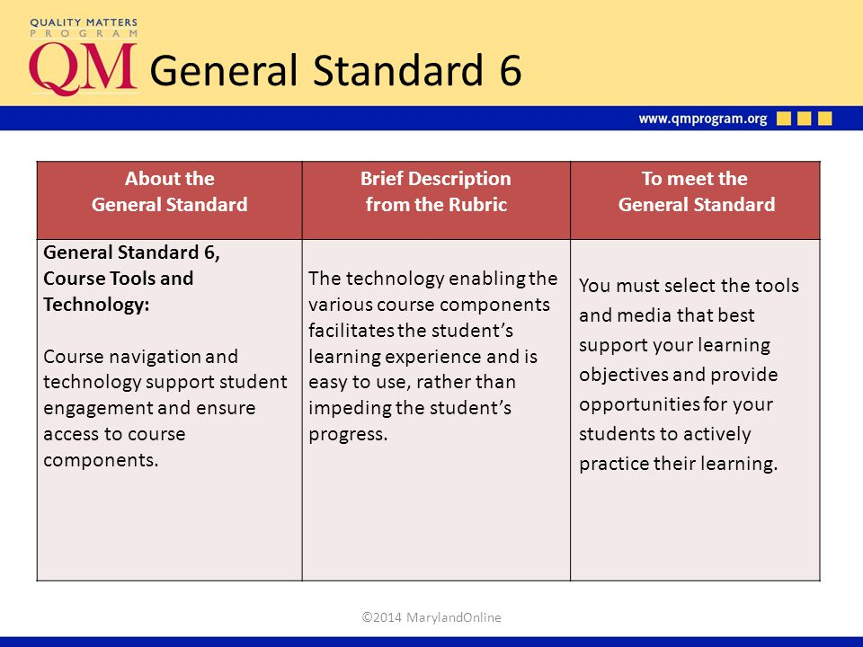 General Standard 6 About the General Standard Brief Description