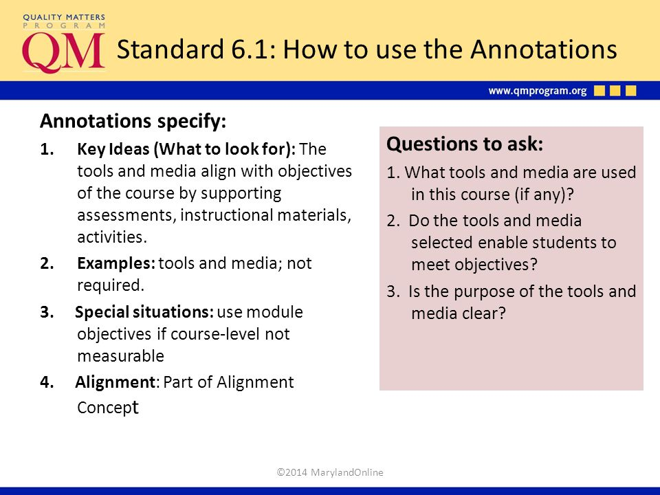 Standard 6.1: How to use the Annotations