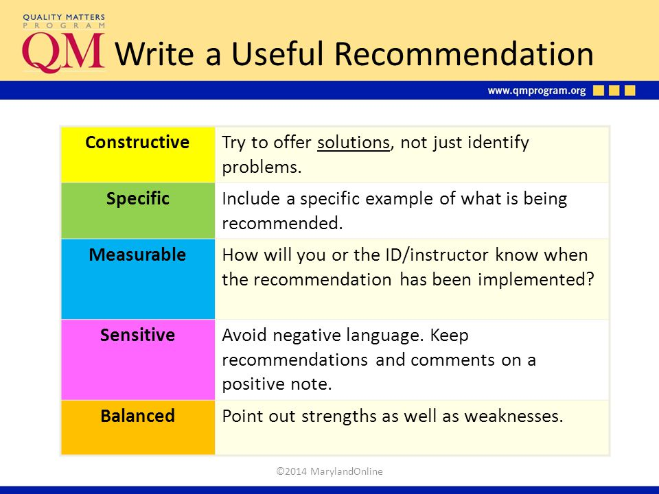 Write a Useful Recommendation