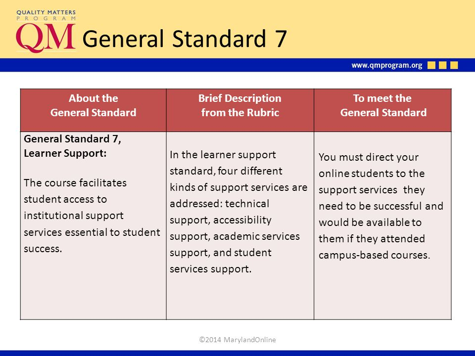 General Standard 7 About the General Standard Brief Description