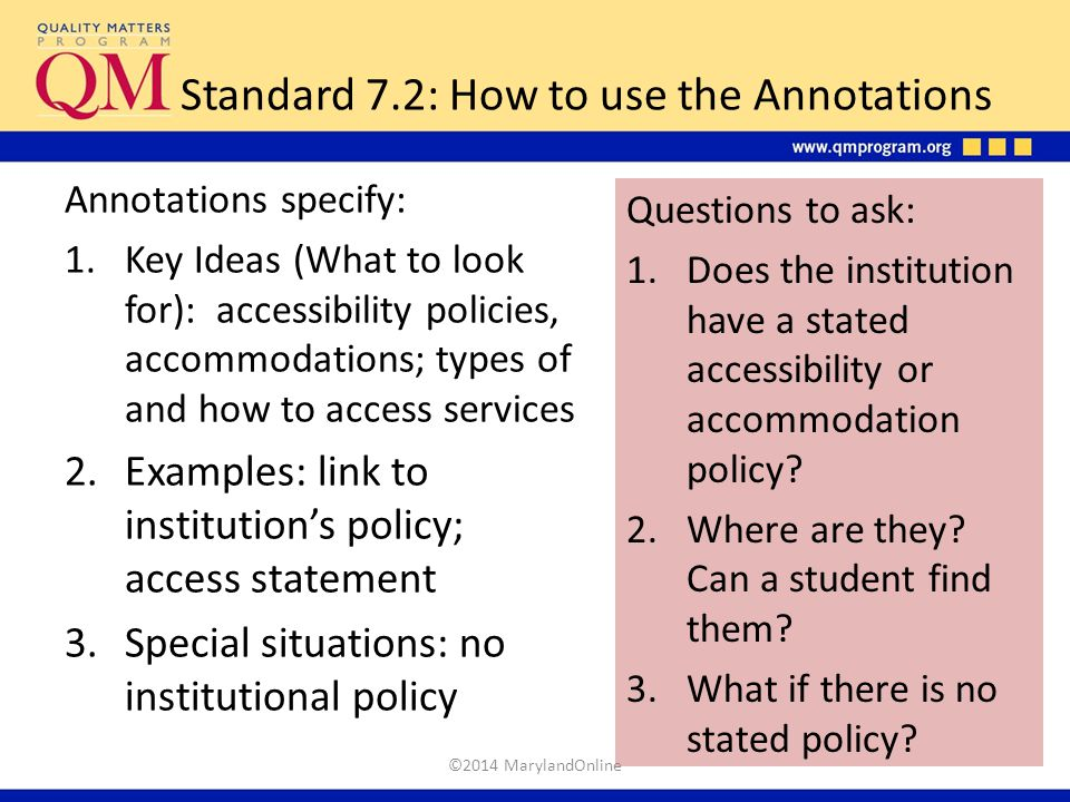 Standard 7.2: How to use the Annotations