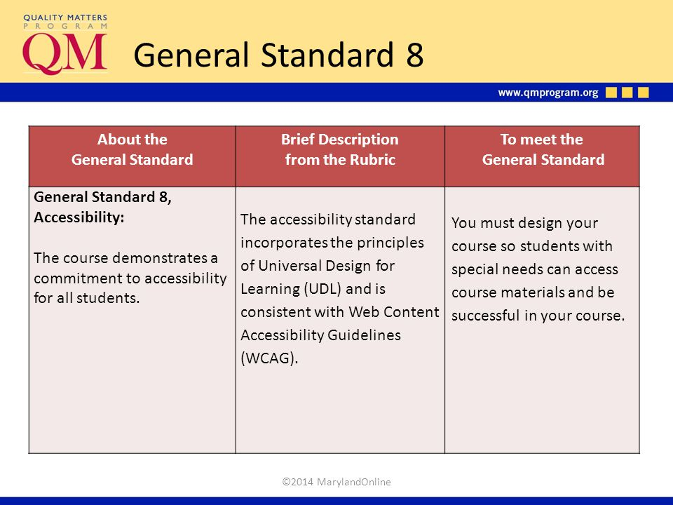 General Standard 8 About the General Standard Brief Description