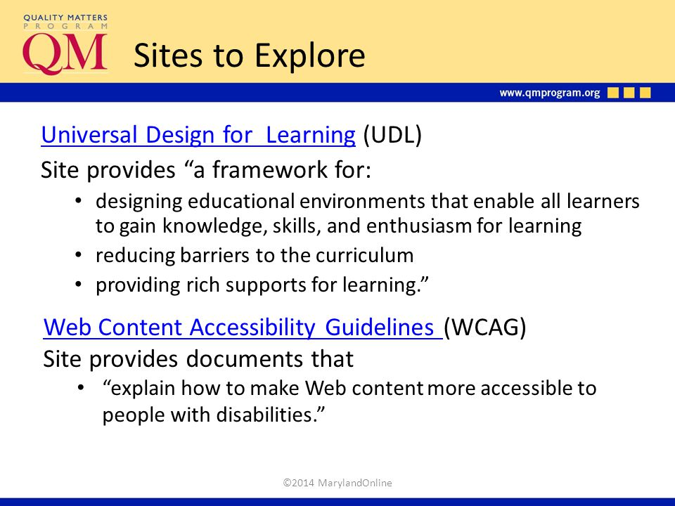 Sites to Explore Universal Design for Learning (UDL)