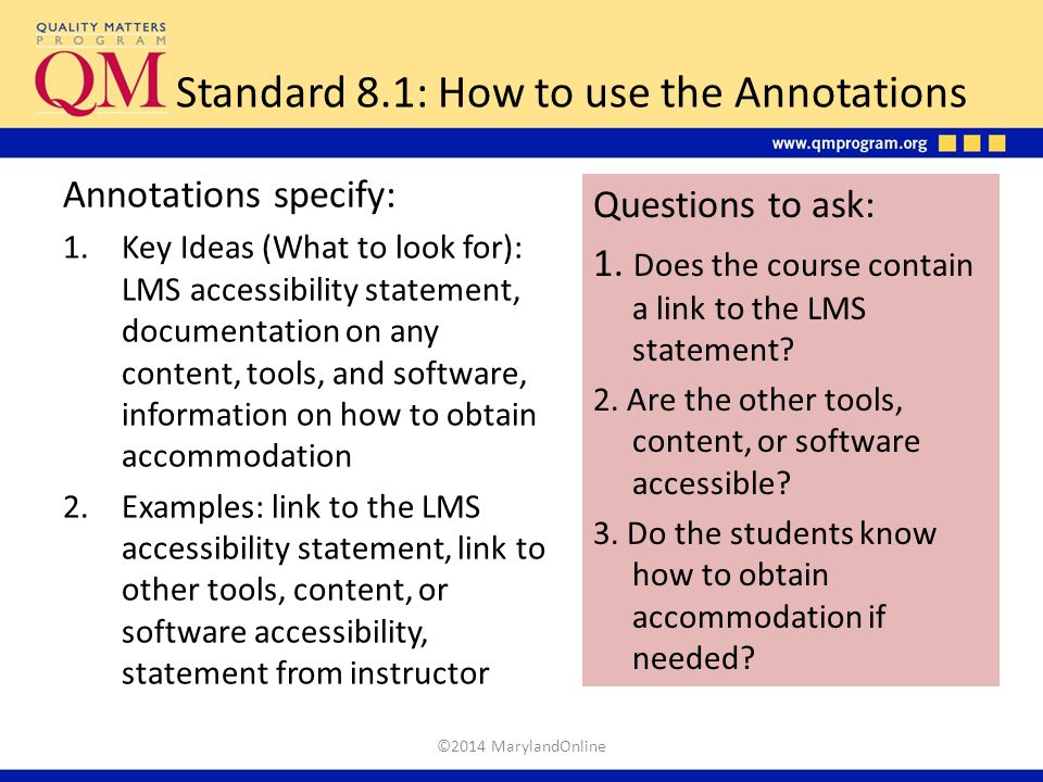 Standard 8.1: How to use the Annotations