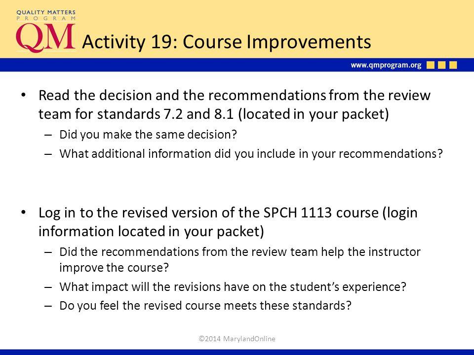 Activity 19: Course Improvements