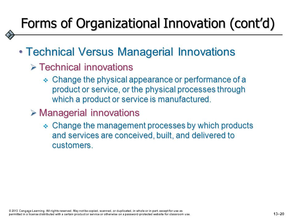 Forms of Organizational Innovation (cont'd)